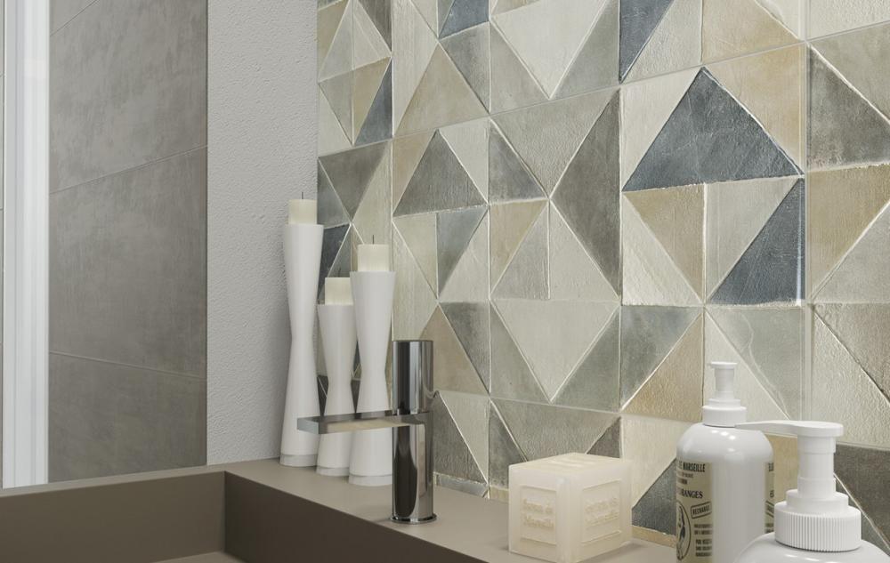 Naxos ceramica surface rivestimento bagno con forme geometriche