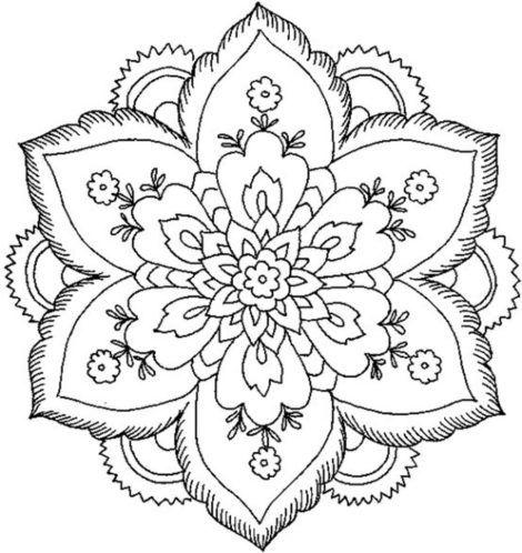 Easy Lotus Flower Mandala Coloring Pages