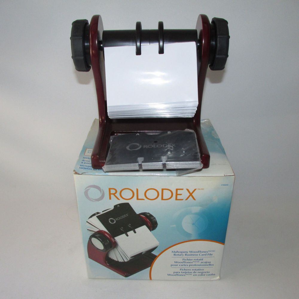 Mahogany Rolodex Rotary Business Card File With Cards Protectors 2 5 ...