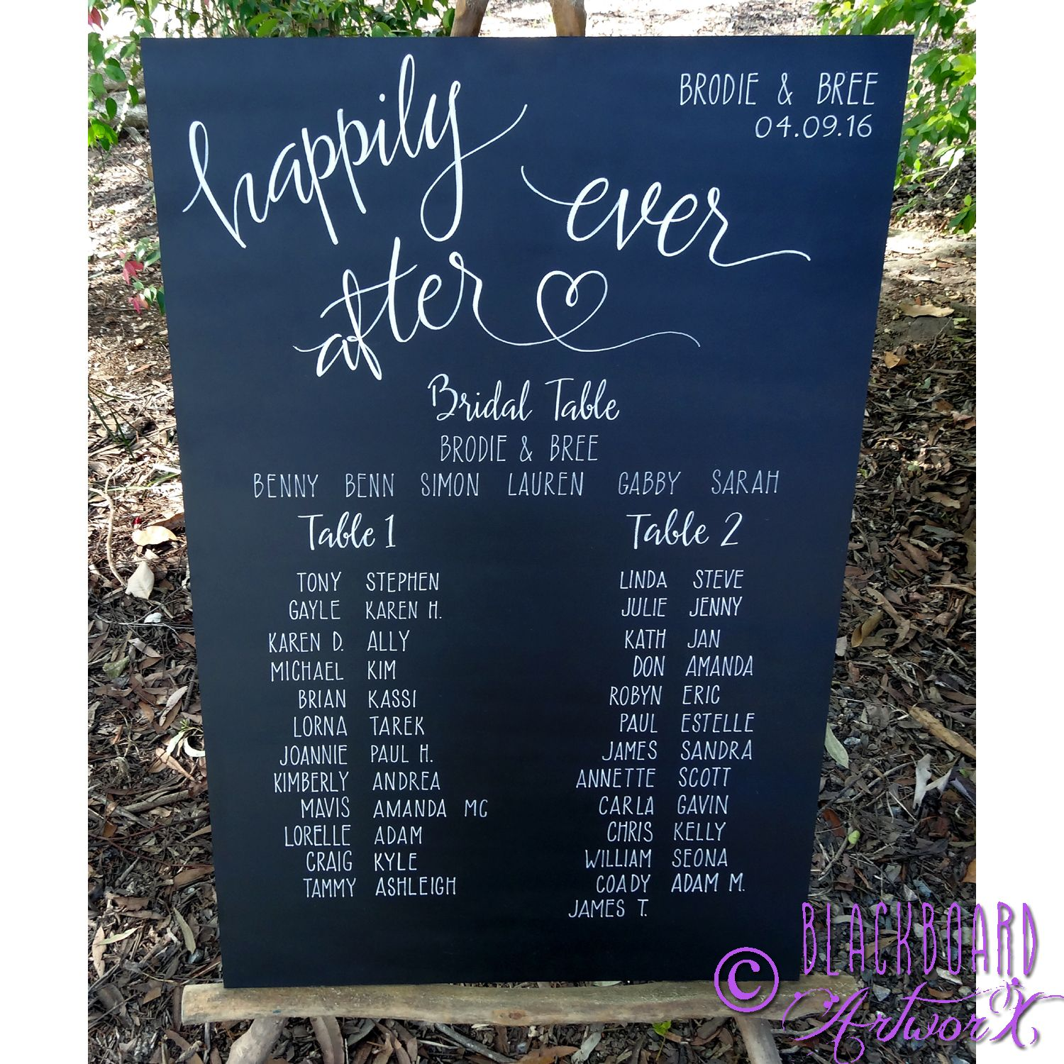 Happily ever after wedding seating plan