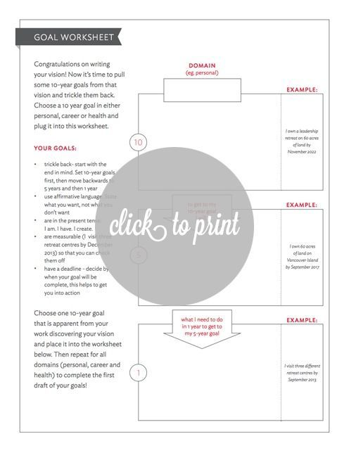 Use this amazing worksheet to fill out your goals with your new planner ideas malvernweather Choice Image