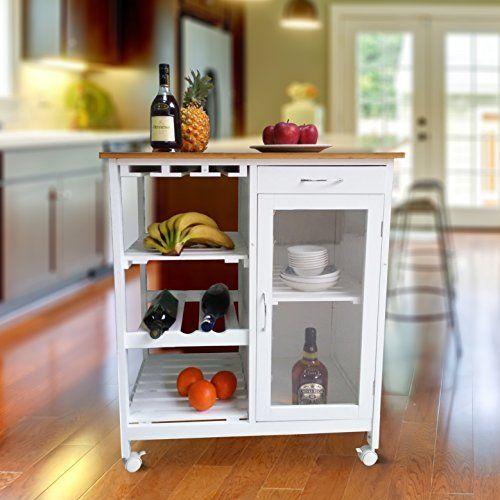 1PLUS Küchenwagen Servierwagen in versch Designs (Carlotta - weiß - küchenwagen mit schubladen