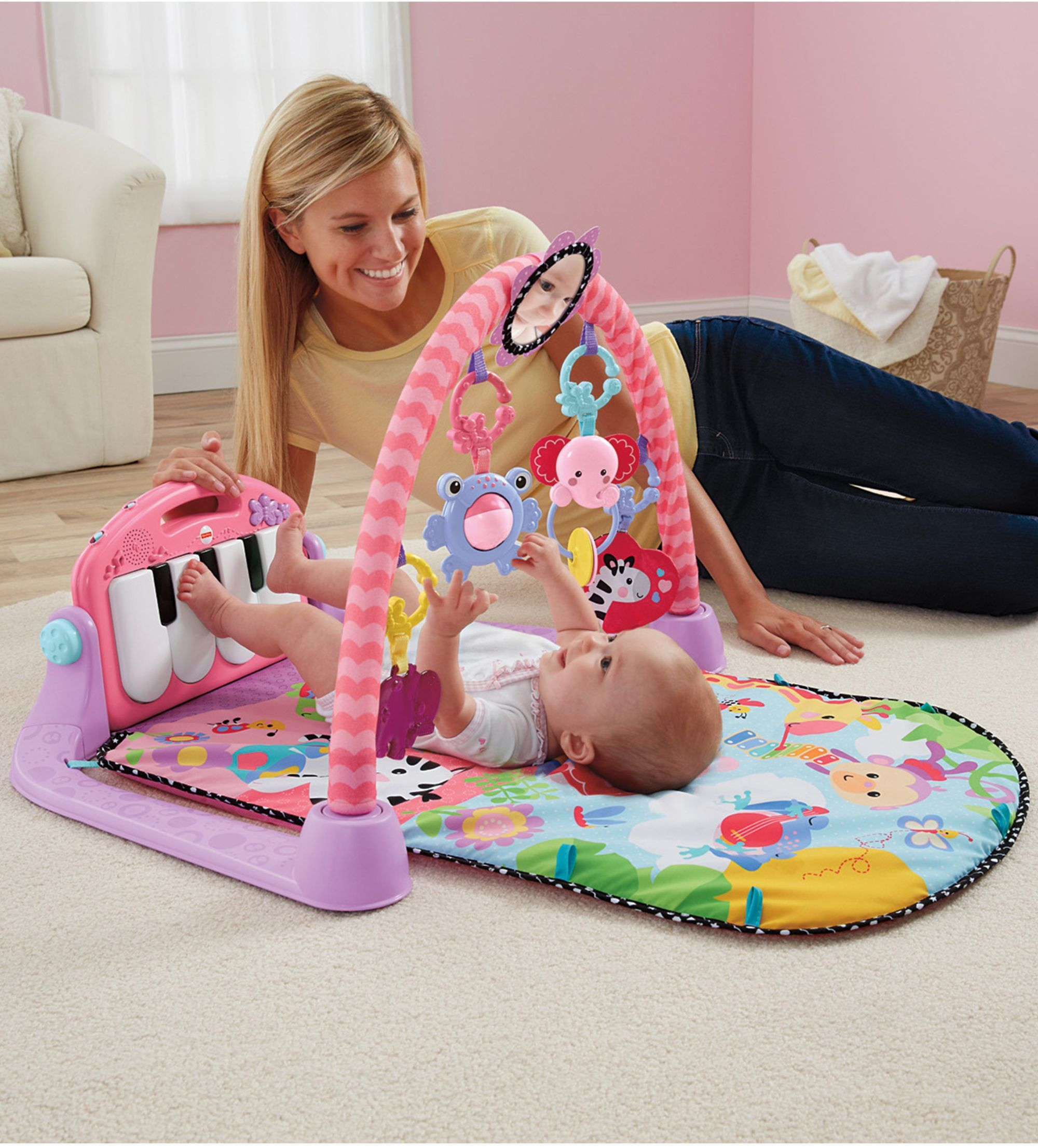 How To Play Newborn On Piano Fisher Price Kick And Play Piano Gym Pink Daisy Stuff