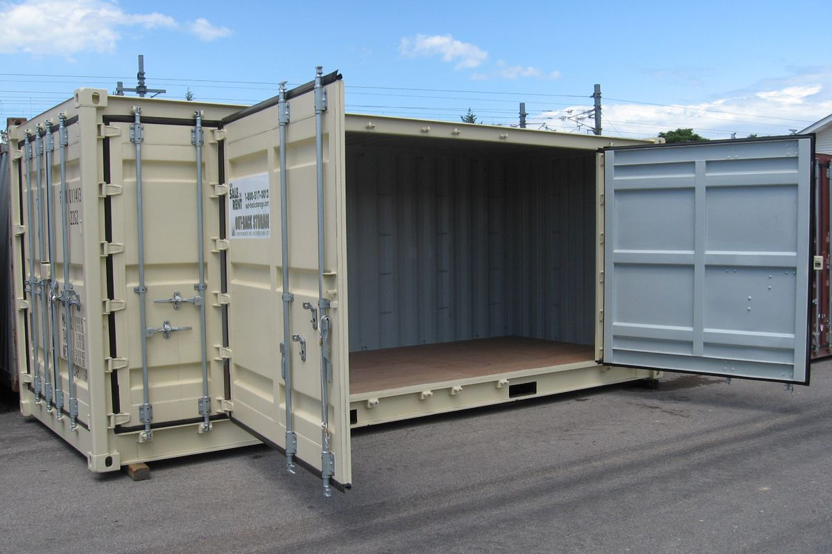 Openside open side storage containers feature double for Side doors for houses