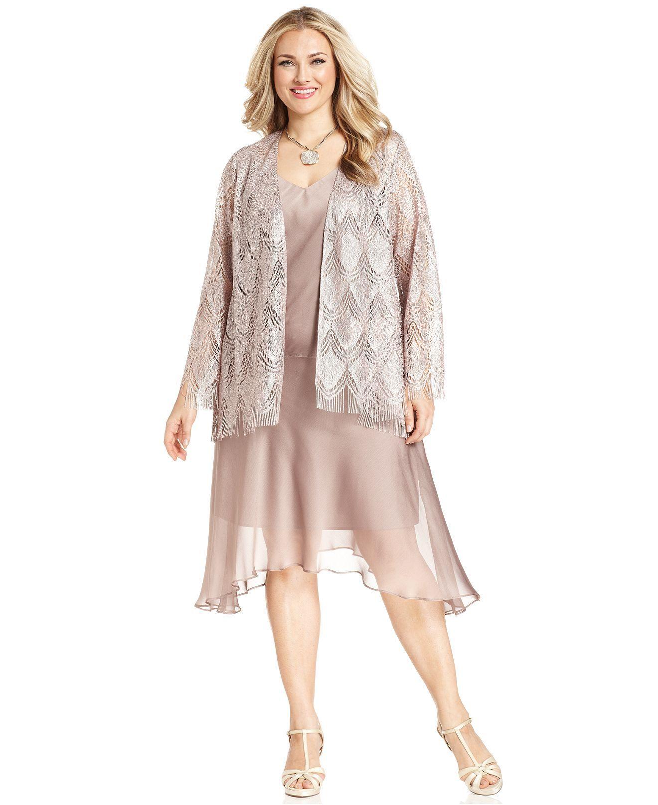 Sl Fashions Plus Size Dress And Jacket Sleeveless Satin Crochet