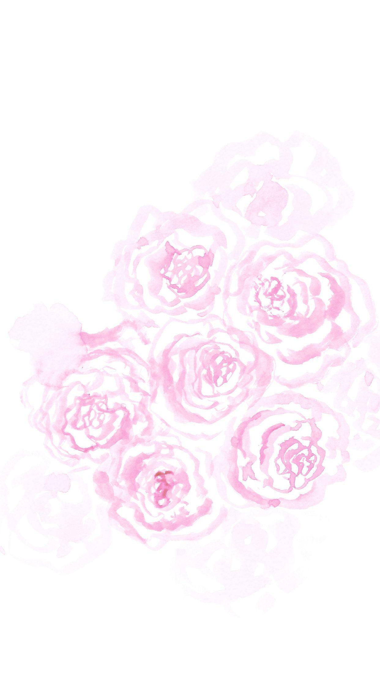 Minimal White Pink Watercolour Roses Floral Iphone Wallpaper Background Phone Lockscreen Kertas Dinding Dinding Kertas