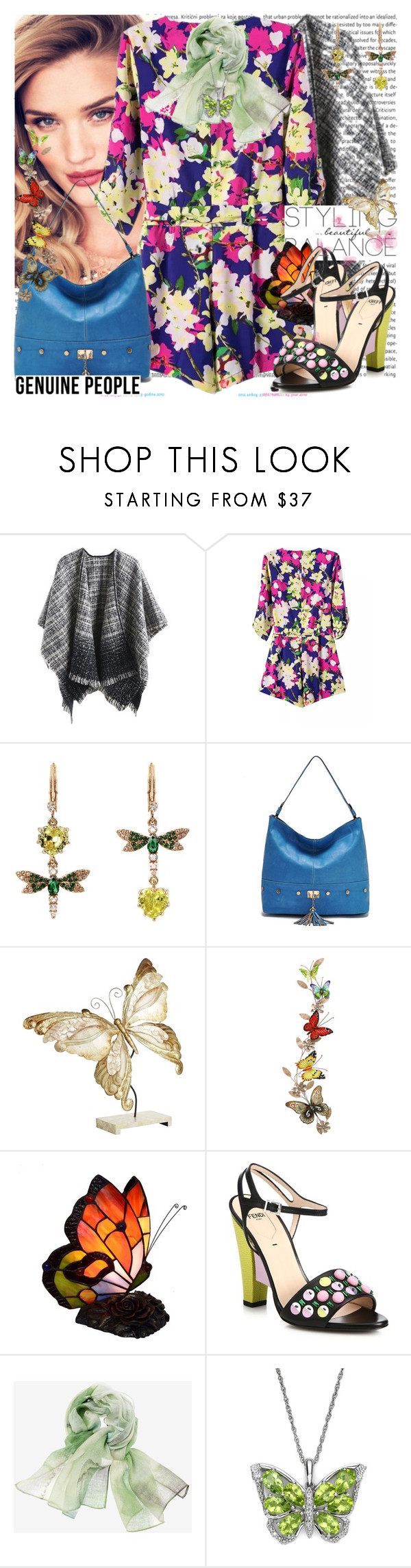 """Like a Butterfly"" by msfashionchick ❤ liked on Polyvore featuring Oris, Betsey Johnson, Pier 1 Imports, Benzara, Fendi and Chico's"