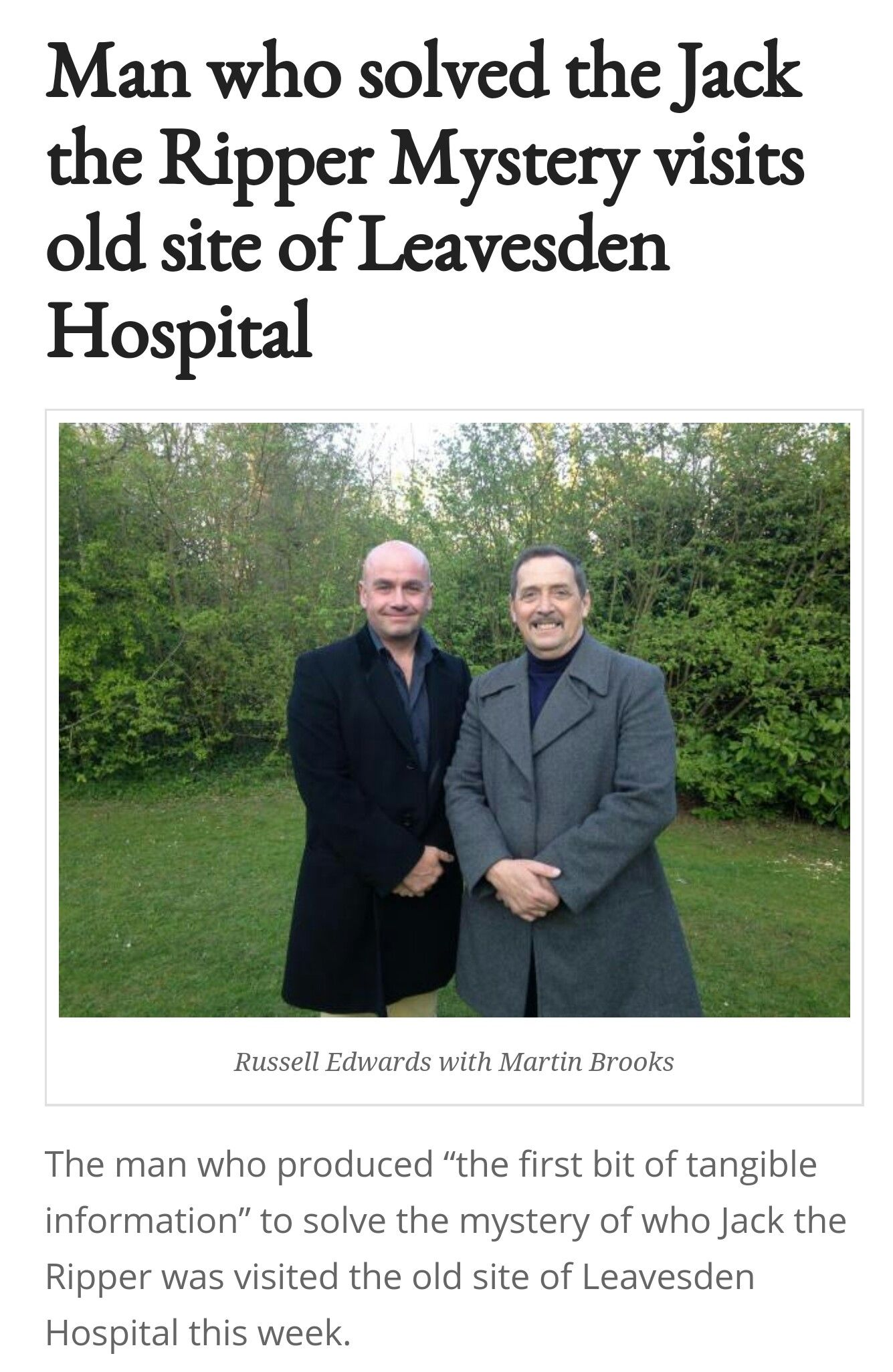 Jack the Ripper was incarcerated at Leavesden Hospital