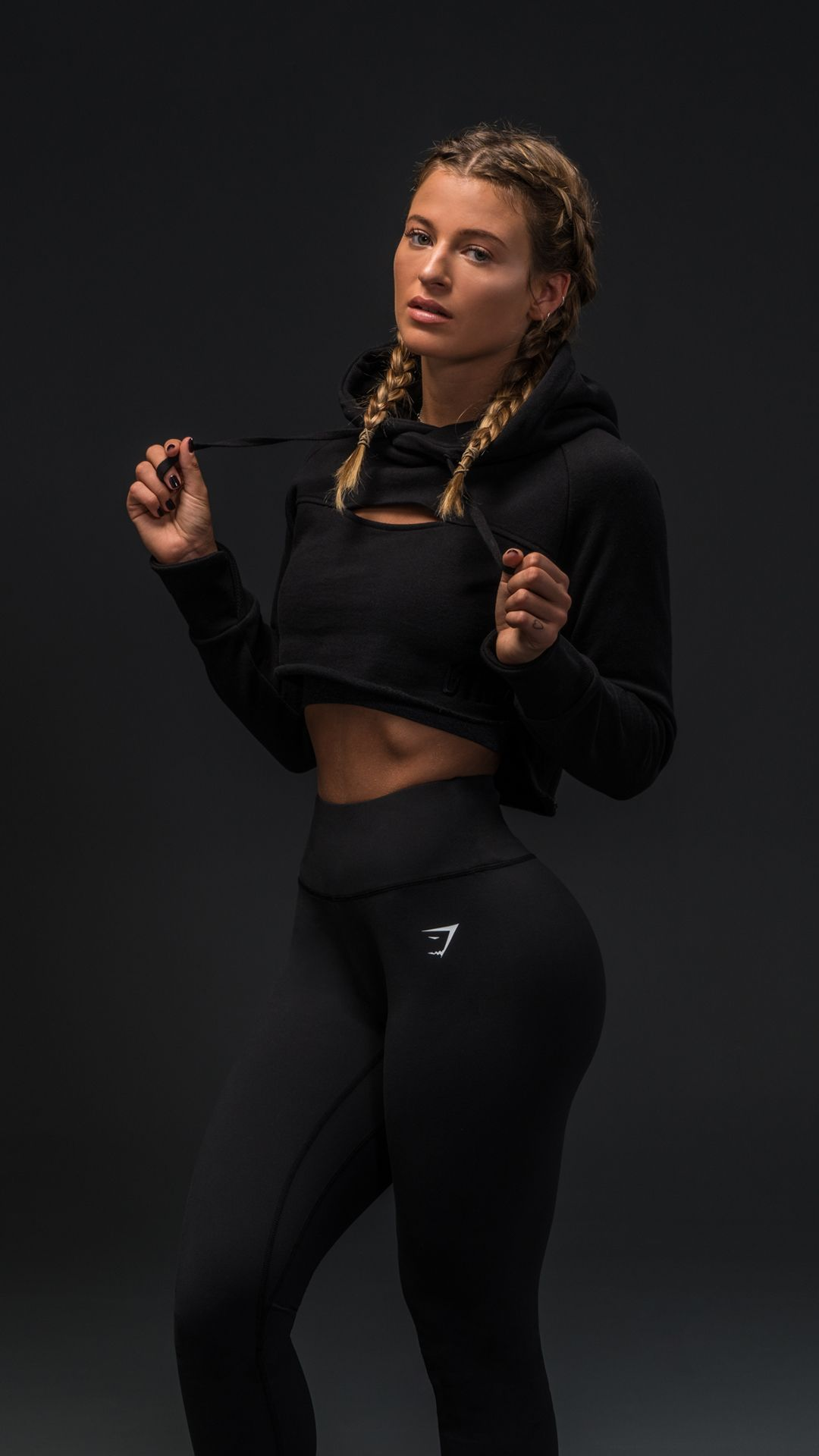 684d5336d2f89 Gymshark Athlete, Meggan Grubb, sporting the Cropped Raw Edge Hoodie. Get  ready -
