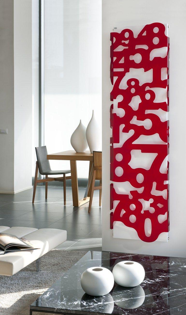 Steel Decorative radiator METACRILATI by CALEIDO   #Design James Di Marco #number #red
