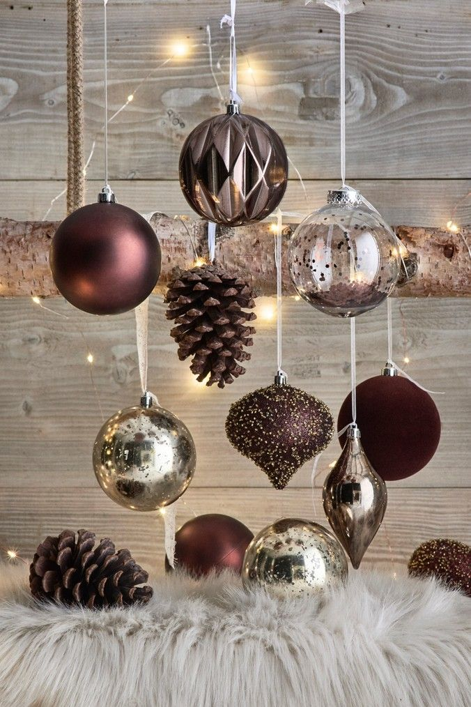 Pack 15 Mini Glass Ornament Baubles Christmas Tree Decoration Silver and Bronze