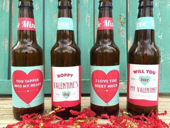 Valentines Beer Labels Valentines Gift For Him By Paprikapaperie Valentines Beer Labels Valentines Beer Beer Valentines Gift