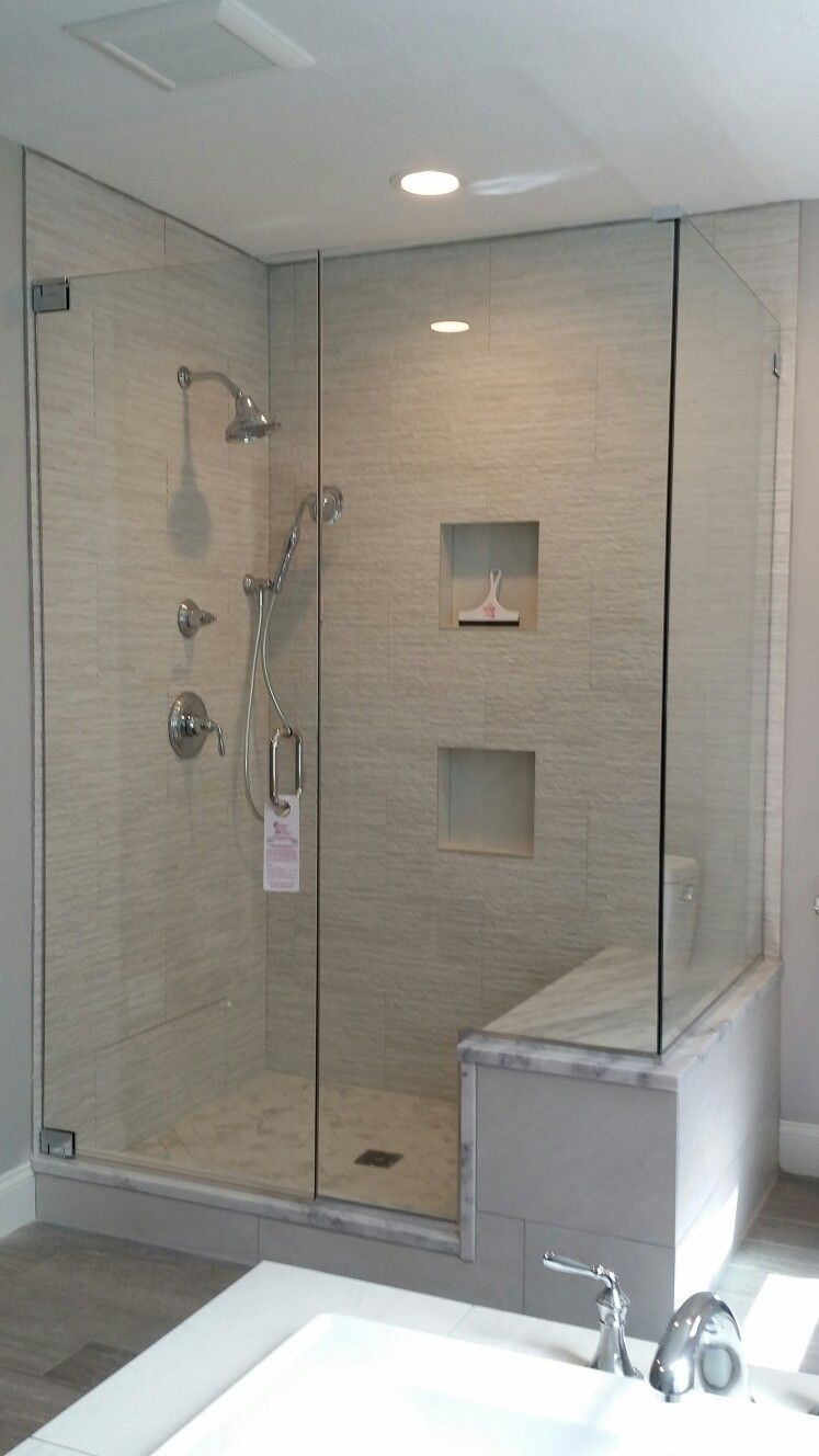 Frameless Shower Door With An Inline Notched Panel And 90 Return Panel Shower Doors Frameless Shower Doors Bathrooms Remodel