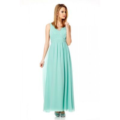 Quiz Aqua Crossover Embellished Maxi Dress- at Debenhams.ie ...