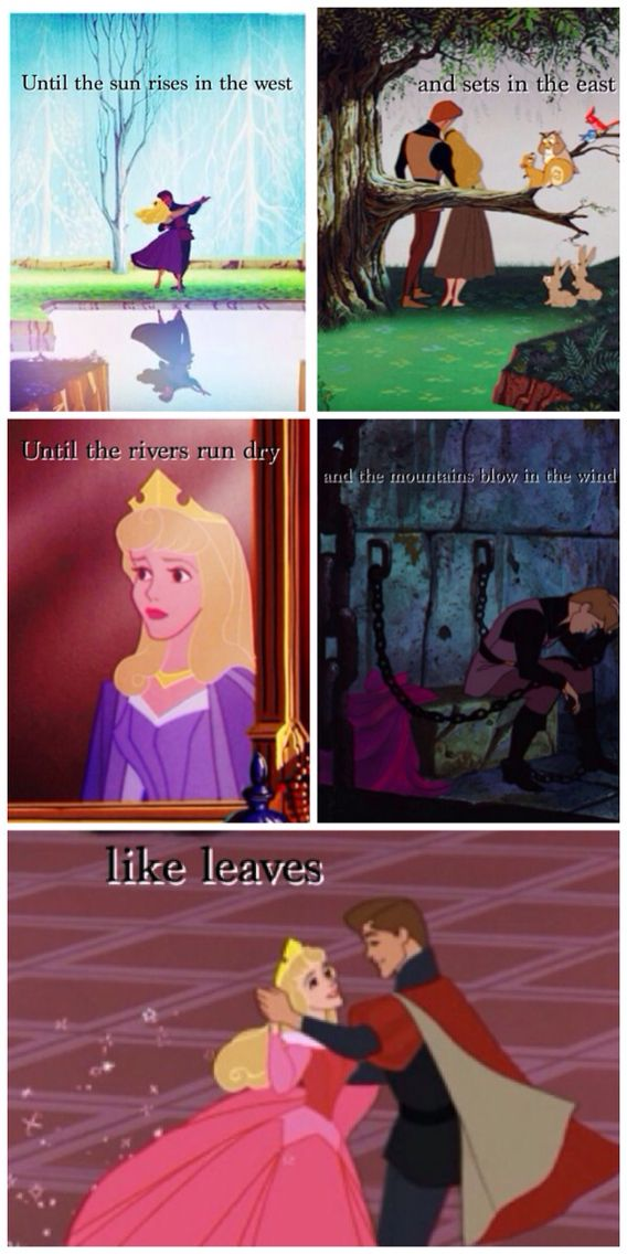 Game of thrones disney crossover! Khal Drogo and Daenerys quote/ Princess Aurora and Prince Philip from Sleeping beauty.