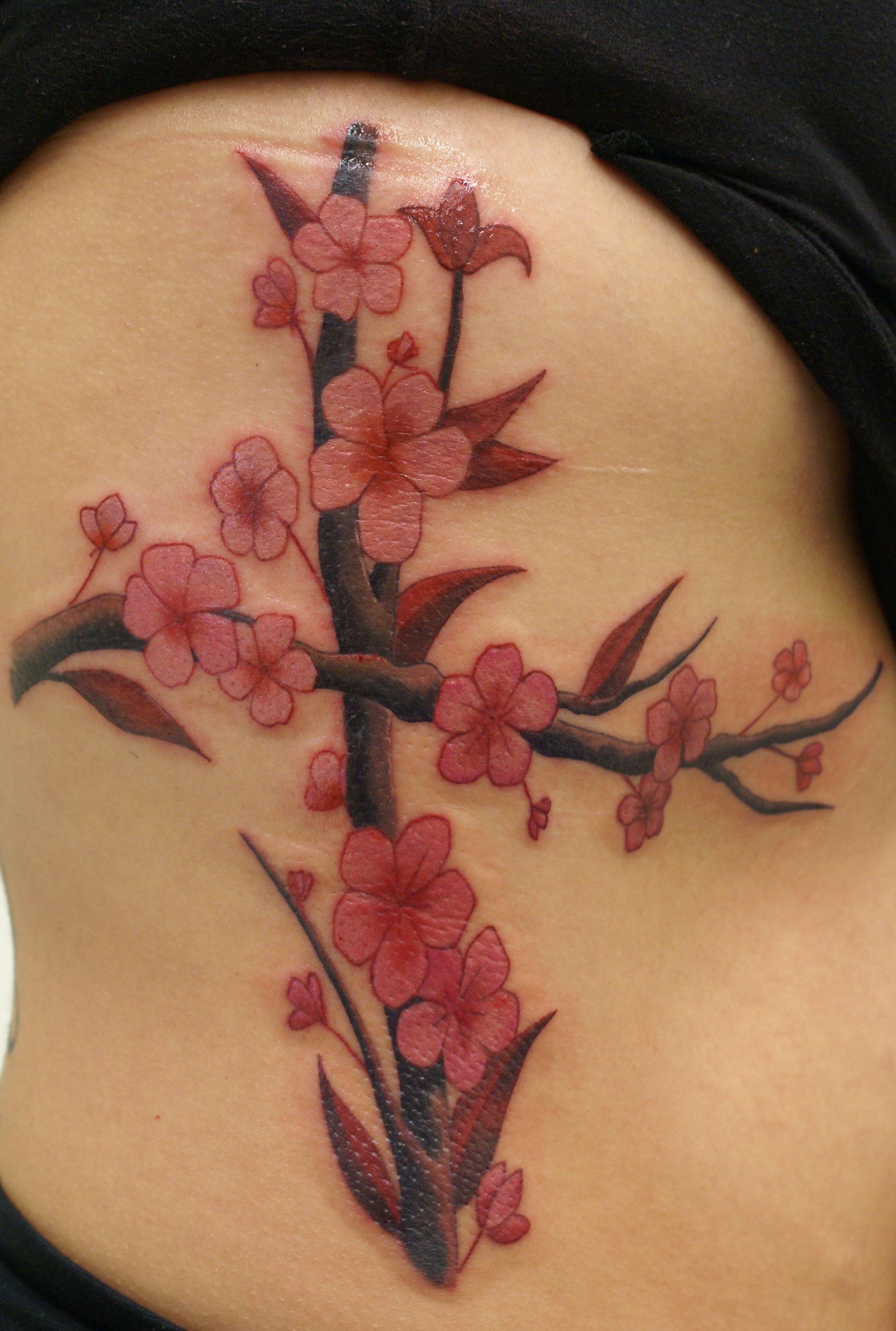 43c9560b3 Cross and cherry blossom tattoo | Tattoo | Blossom tattoo, Tattoos ...