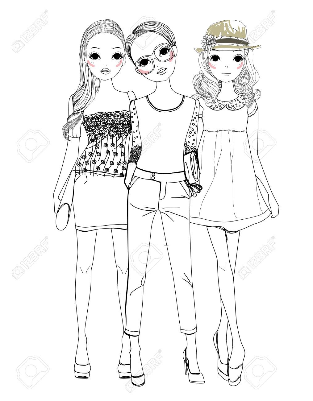 Three Fashion Girls Girl Drawing Sketches Bff Drawings Girl Drawing