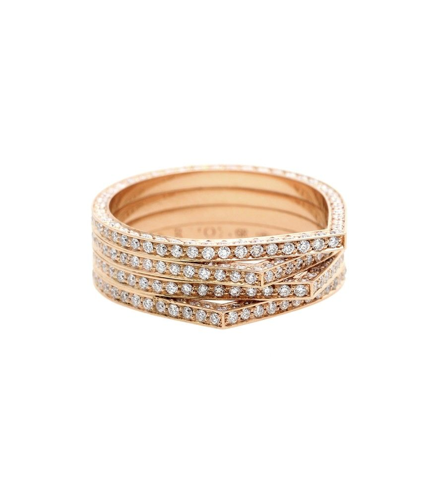 Repossi - Antifer 18kt rose gold ring with white diamonds - Italian jewellery house Repossi is renowned the world over for creating exquisite pieces and this 'Antifer' ring speaks to the label's luxury reputation. Crafted from 18kt rose gold with handfuls of sparkling white diamonds, this piece makes a statement that no one will forget. Slip it on as the finishing touch to an elegant evening look. seen @ www.mytheresa.com
