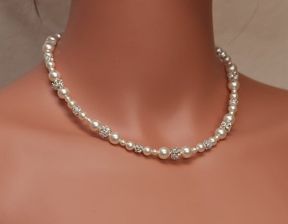 Bridal Pearl Rhinestone Necklace, Wedding Necklace, Cream Pearl Necklace, Wedding Jewelry, ISABELLA DELUXE on Etsy, $42.00