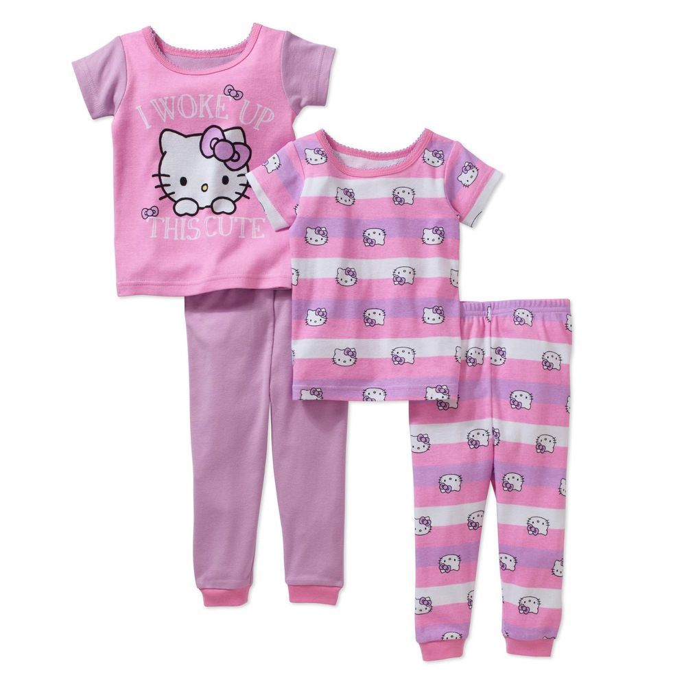 d7509c34c Baby Girls Hello Kitty 4pc Cotton Pajamas Set Mix   Match Size 12 ...