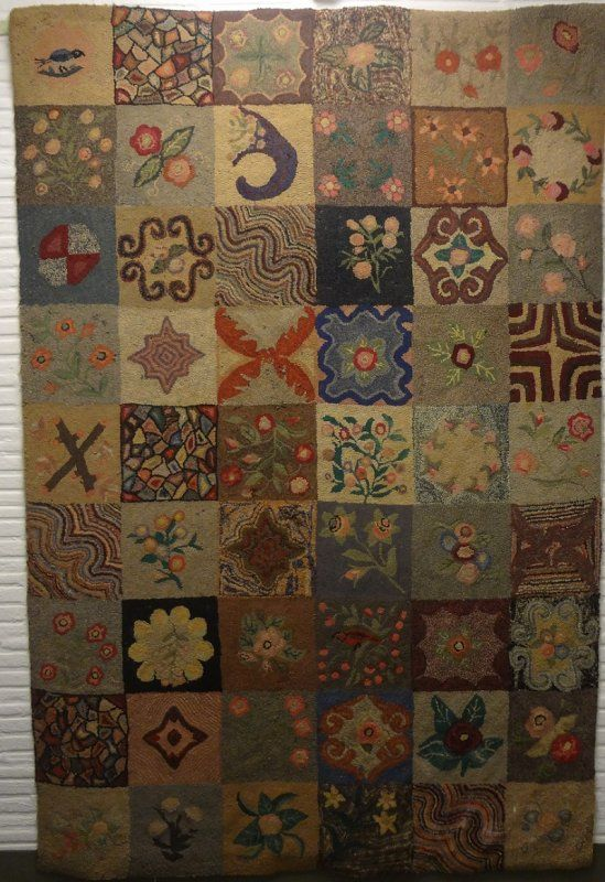 American 'SAMPLER' ROOM SIZE ANTIQUE HOOKED RUGProbably a
