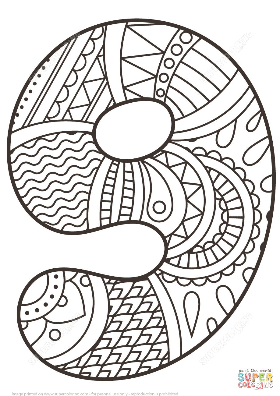 Number 9 Zentangle | Super Coloring | Ahmet\'e | Pinterest | Zahlen ...