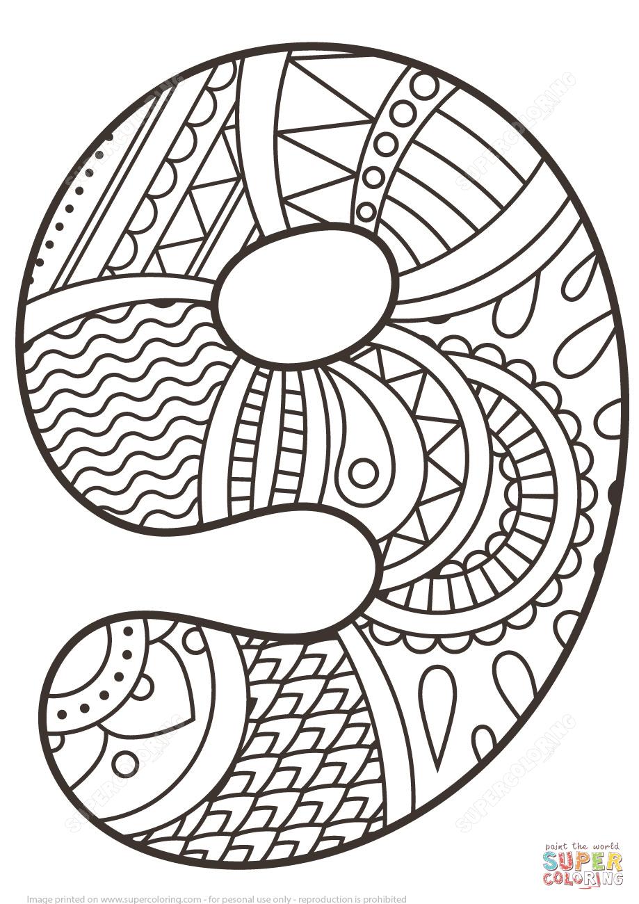 Disegno da colorare di Numero Zentangle 9. Categorie
