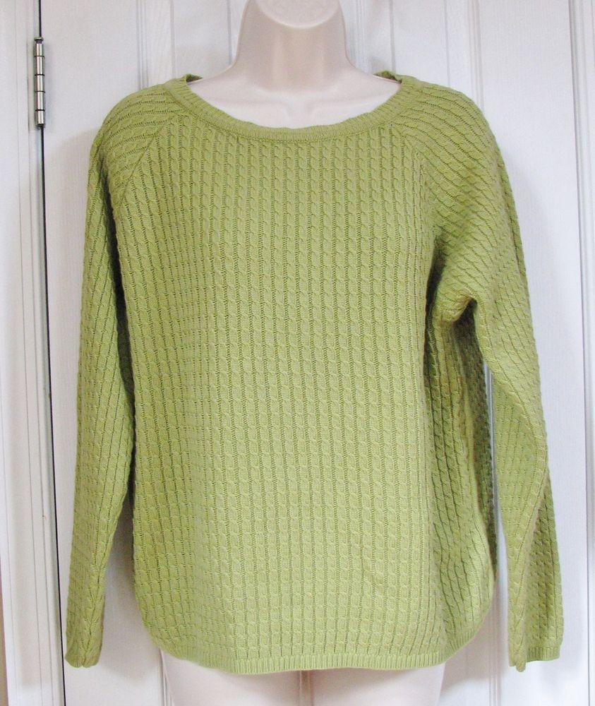 Liz Claiborne Women Long Sleeve Cable Knit Crewneck Light Green ...