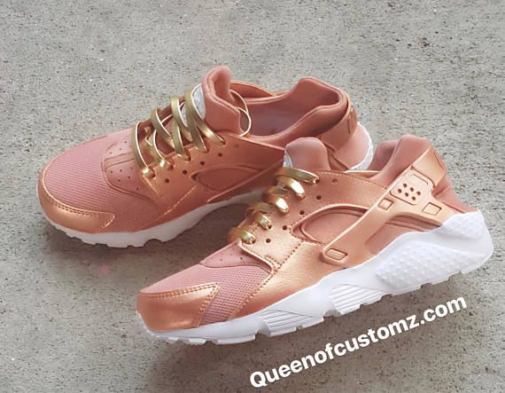 9d378f2b9ae20 Premium Custom Rose Gold Nike Huarache in 2019 | Sauce | Nike shoes ...