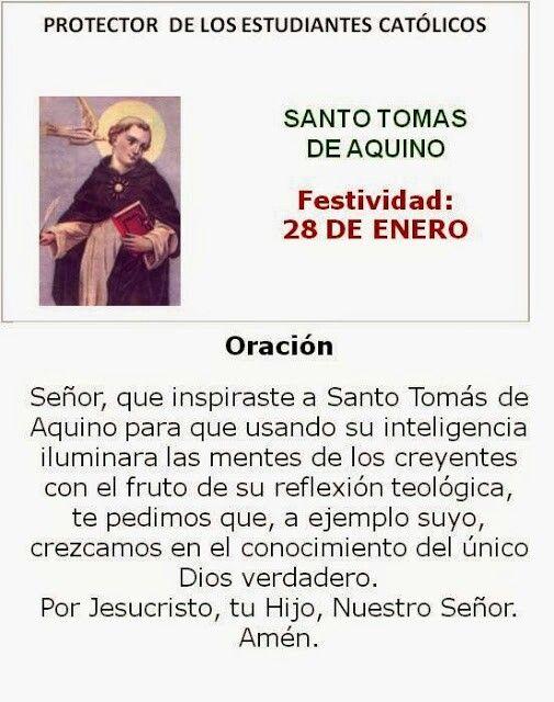 Santo Tomás De Aquino Estudiantes Cstólicos Oraciones Varias