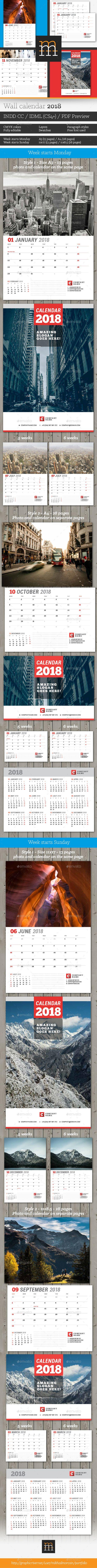 Wall Calendar 2018 Template InDesign INDD | Calendar Templates ...