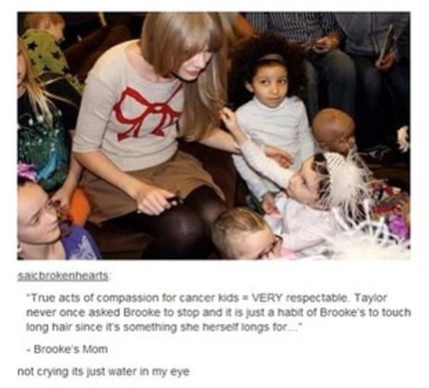 Now, did any media report on the fact that Taylor went to visit these kids? No. Instead, it's all about who she's dating...