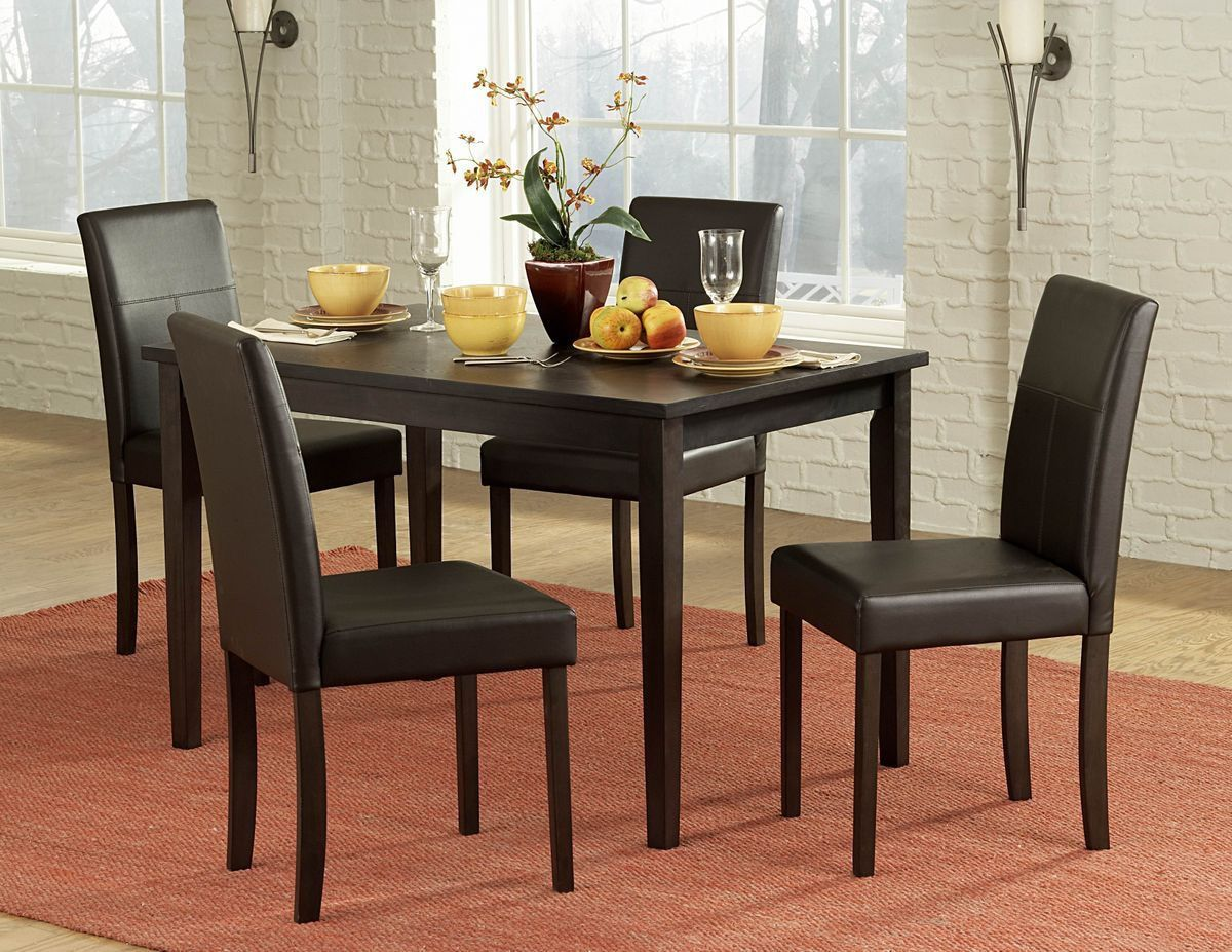 Dover 5Pcs Dining Set 2434 Dining Table 4 Side Chairs Dark brown