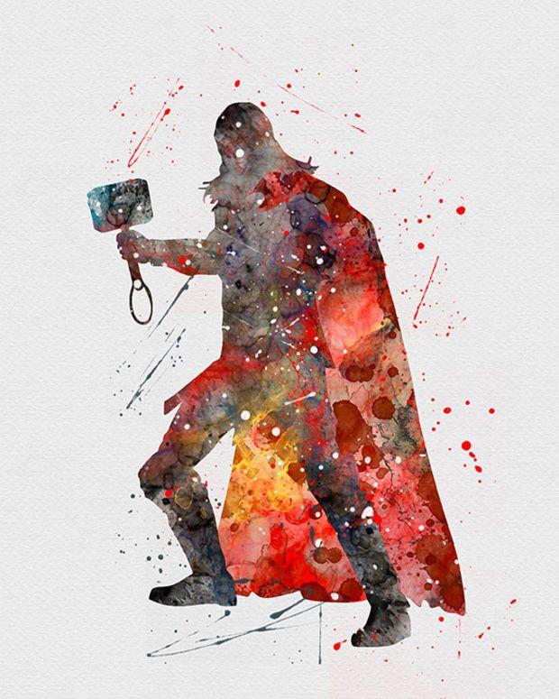Avengers Watercolor: Thor Watercolor Art