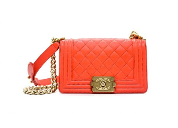 c3e0299c8125 Chanel Coral Red Small Boy Bag | Bags Available To Rent | Bags ...