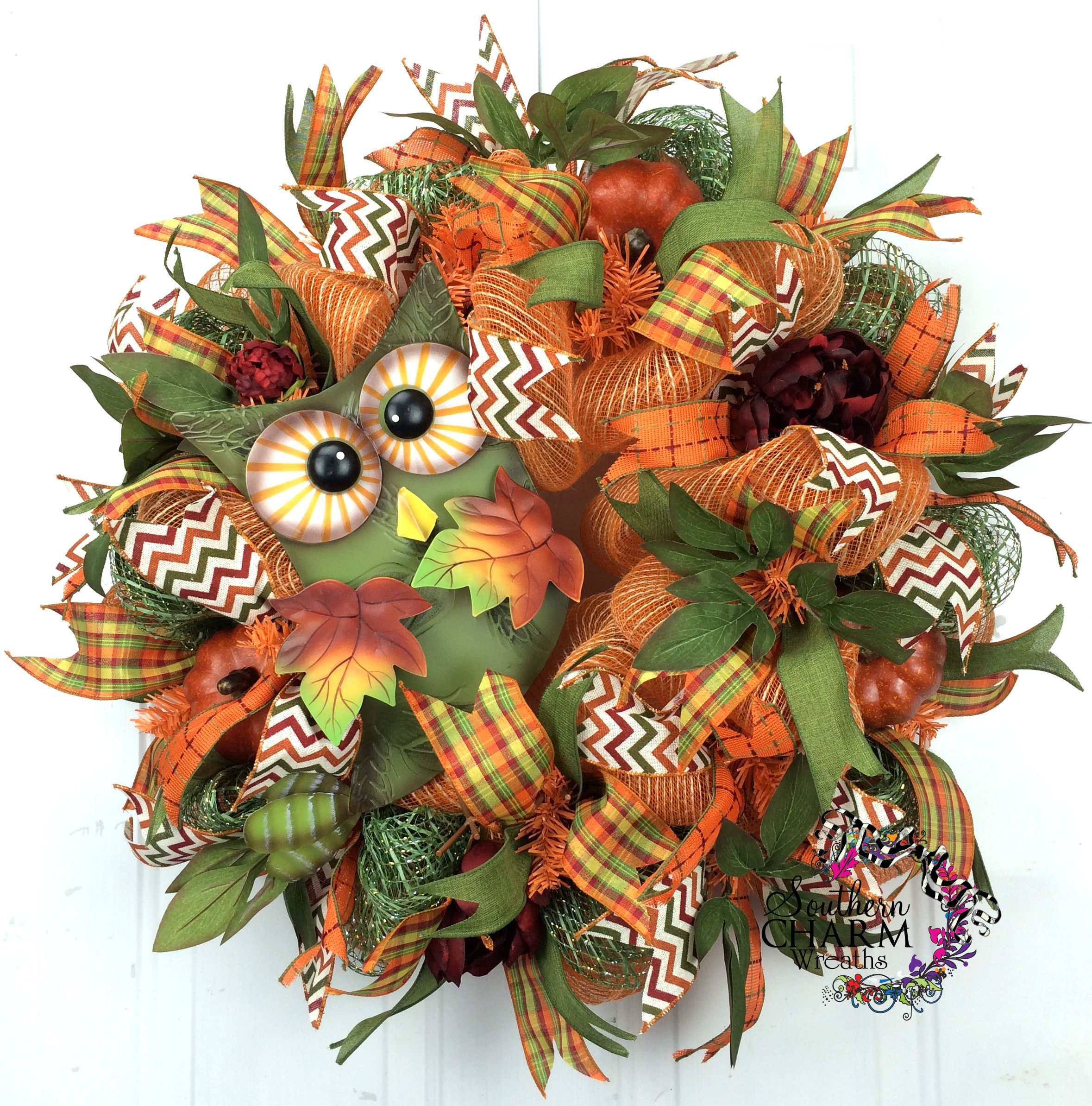 Deco Mesh Fall Burlap Wreath Owl Sign Moss Orange Door