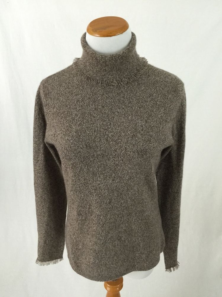 MAGASCHONI brown fringed edge 100% CASHMERE turtleneck