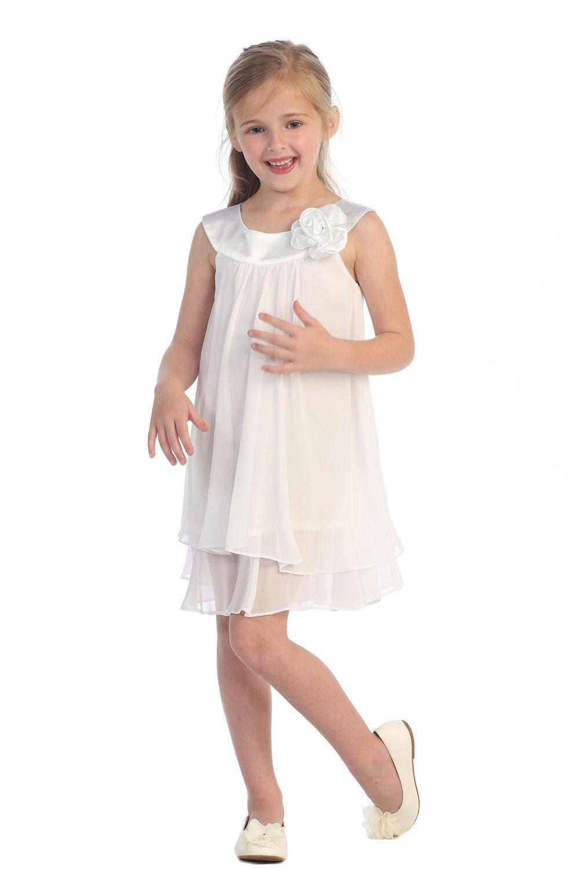 White Satin Bib Necklin Chiffon A Line Flower Girl Dress Emma