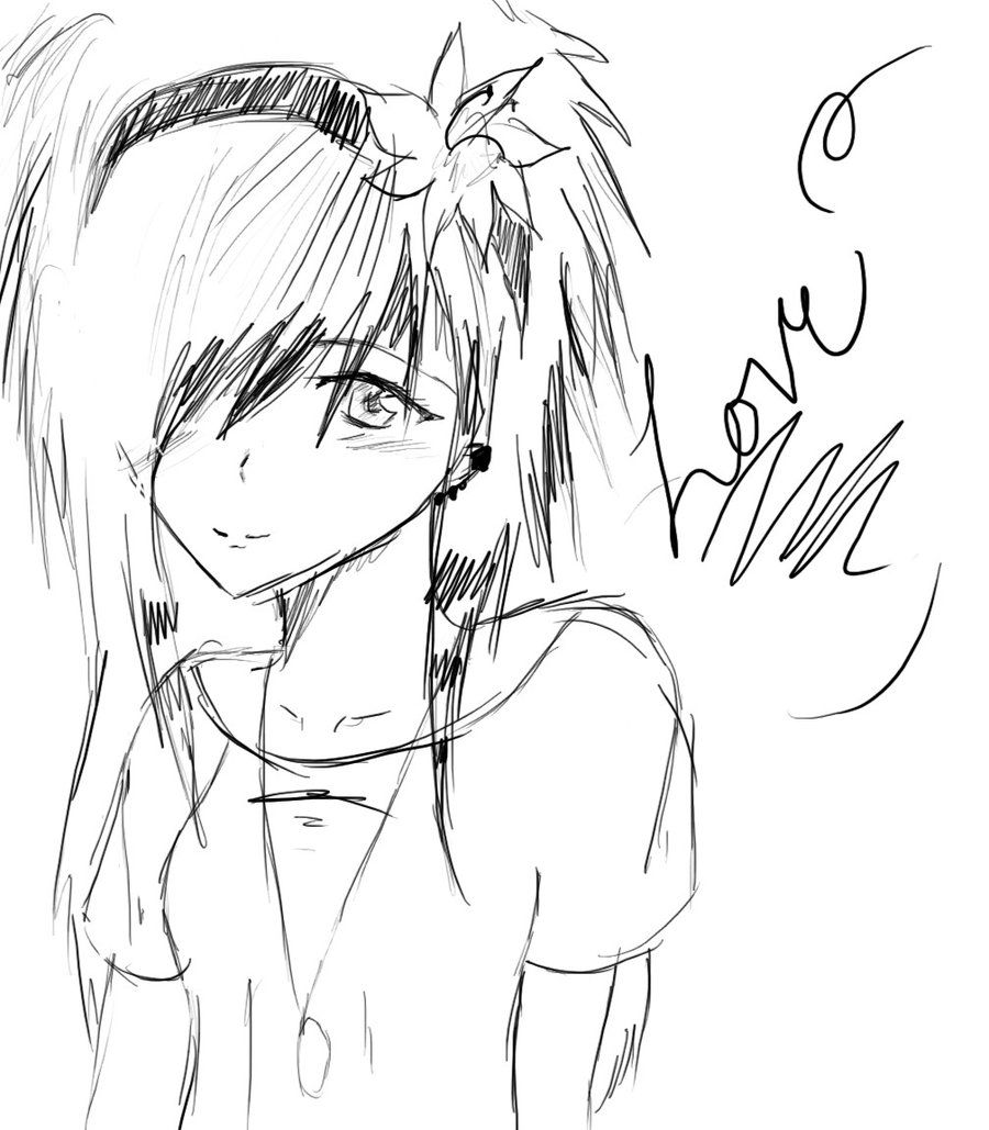 easy anime drawings Emo Lovesketch by thelovelyproblem