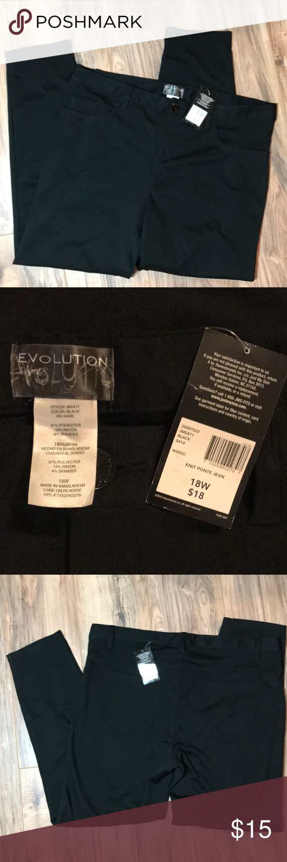 37d3275900e Just My Size Knit Ponte Jeans. Size 18W JMS Black knit jeans never worn  with Tag. Very comfy   stretchy. 5 pockets
