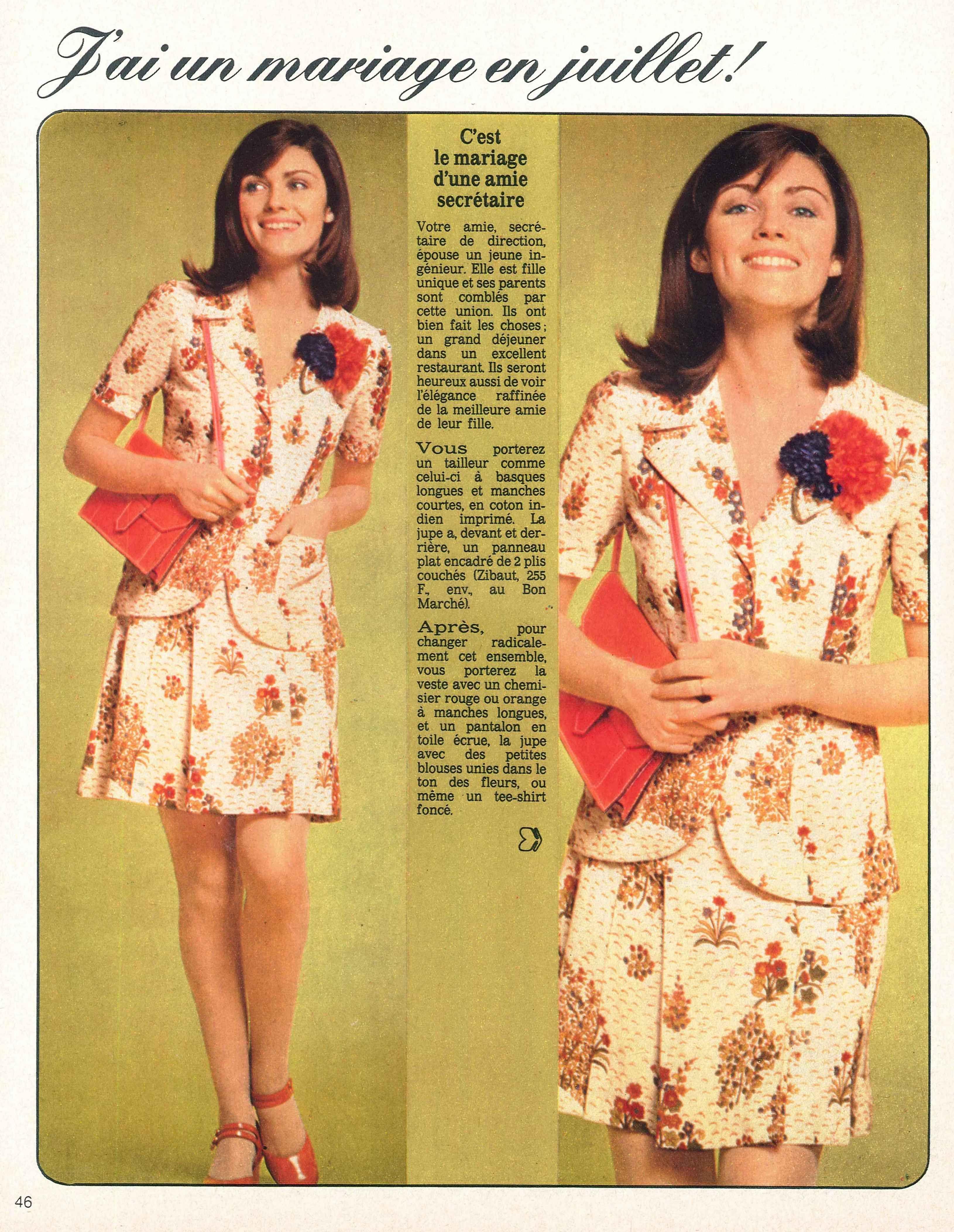 """""""Votre amie secrétaire, épouse un ingénieur ?"""" Ciel, que porter au mariage ?! Echo de la #Mode 05/05/1972"""