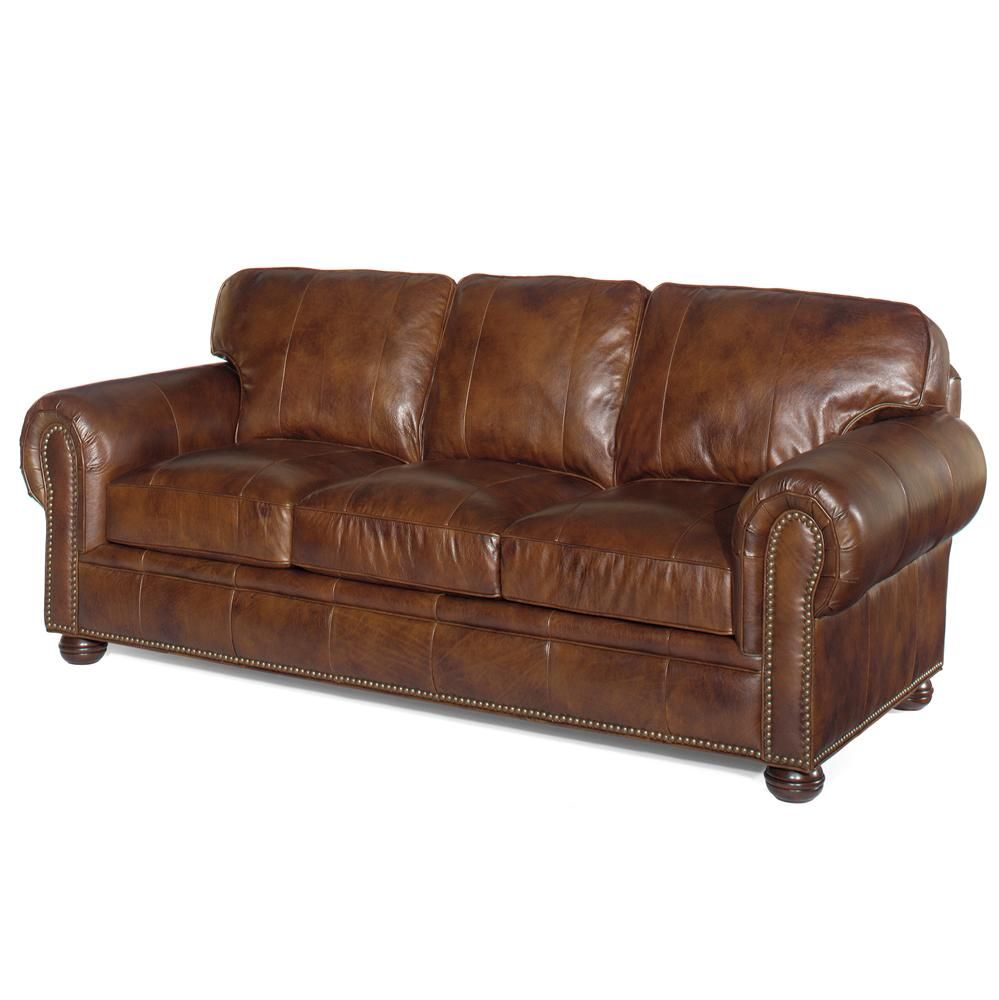 Lexington Leather Chaucer Leather Sofa With Nailhead Trim By