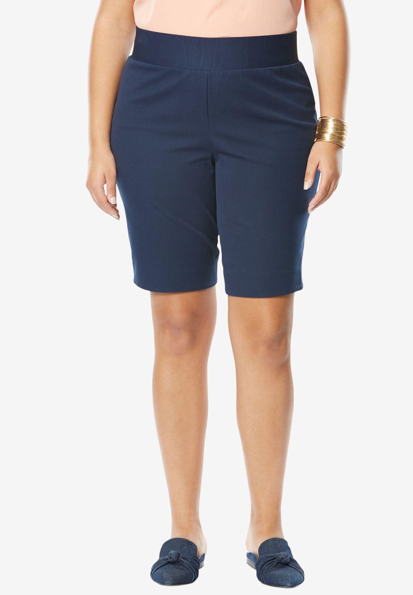 36e3d7b17fa21 Tummy Control Twill Shorts | Plus Size Capris & Shorts | Jessica London