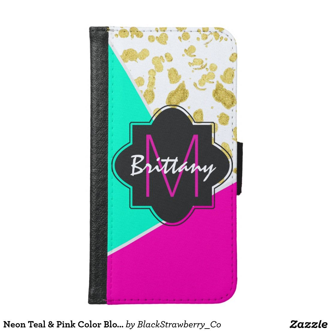 Neon Teal & Pink Color Block & Faux Gold Monogram