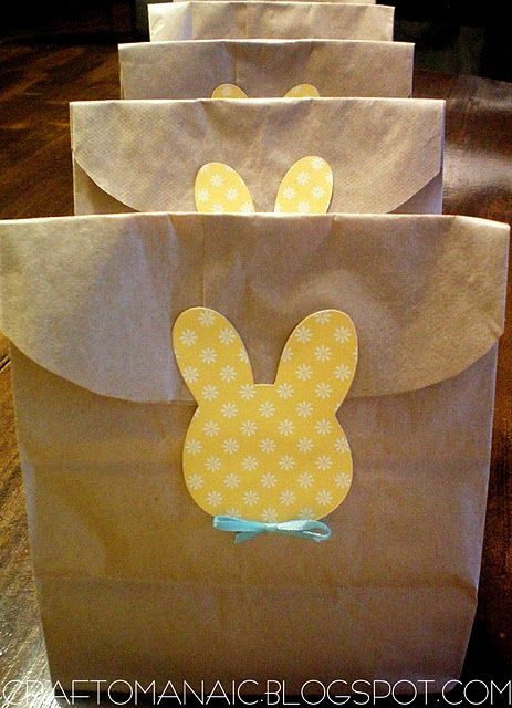 Brown bags i like the rounded edge could be closed with any easter bunny embellished goodie bag use for easter treats or to hold easter eggs for the kids negle Choice Image