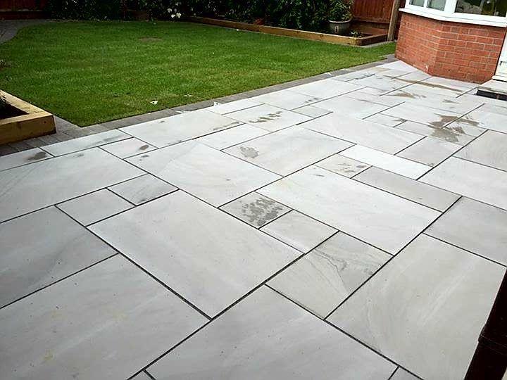 sawn polished silver grey free delivery stone paving slab. Black Bedroom Furniture Sets. Home Design Ideas