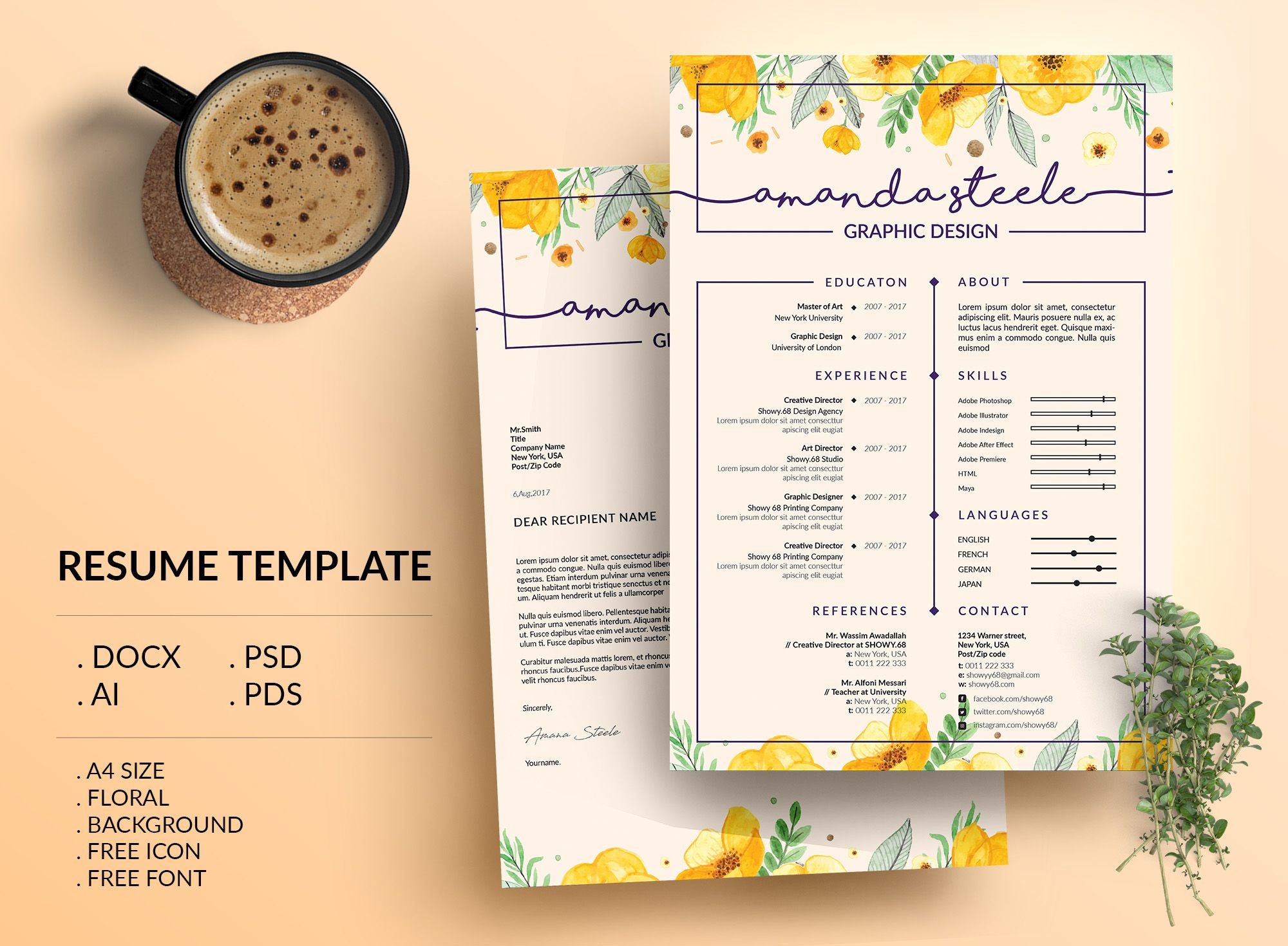 Check out my Behance project Floral Resume Template CV Template