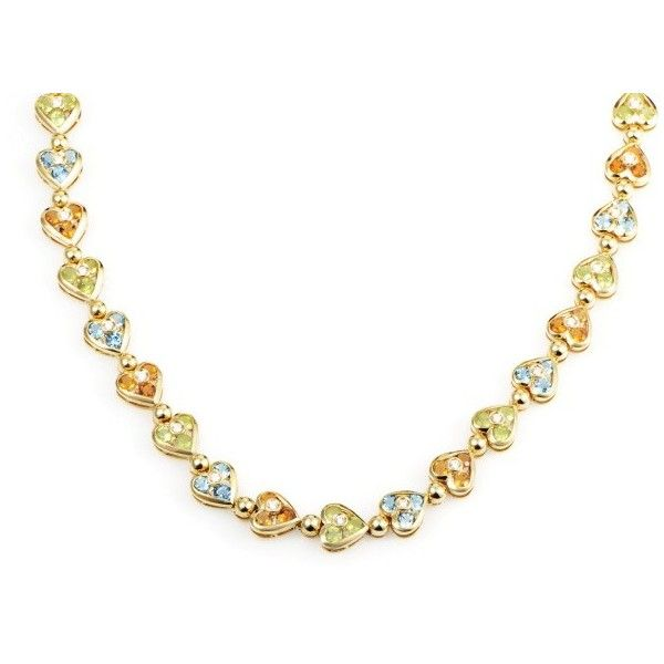Pre-owned Citra 18K Yellow Gold Diamond & Multi-Gemstone Heart Choker... ($4,010) ❤ liked on Polyvore featuring jewelry, necklaces, 18k gold charms, diamond choker necklaces, choker necklace, gold diamond necklace and diamond necklace