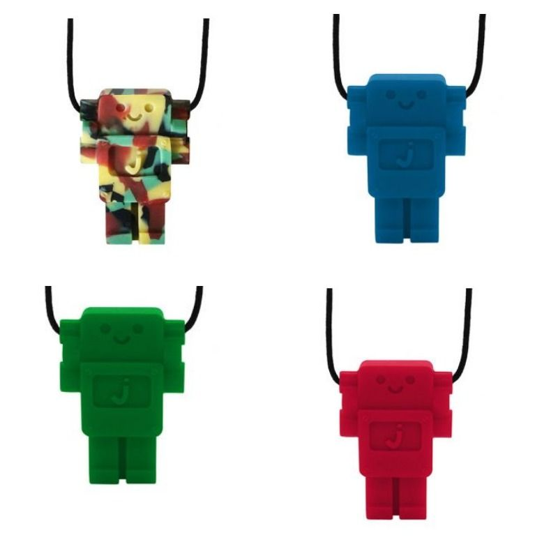 The smart and funky, new Robot pendant is a part of the Jellystone Juniors range of silicone jewellery.   Styled according to feedback from mums, the new robot pendant  has been designed to be more robust in shape.
