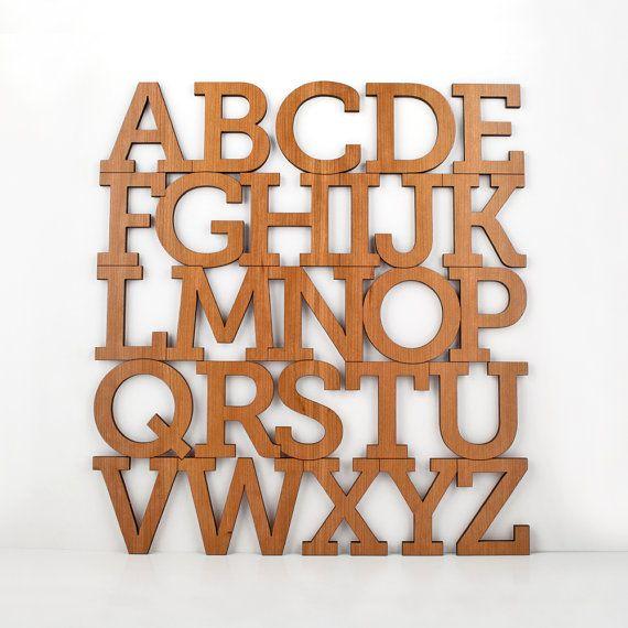 Wood Alphabet Letters Wall Hanging Nursery Decor Muur